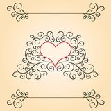 Valentine day card with patterns and heart inside. Valentine day card with patterns and red heart inside. Beige background Vector Illustration