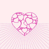 Valentine day card with pink heart Stock Images