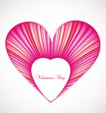Valentine day card with pink heart. Vector Stock Image