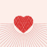 Valentine day card with red scribble heart Royalty Free Stock Photos