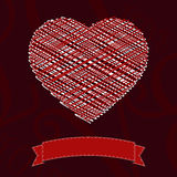 Valentine day card with red scribble heart Stock Image