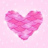 Valentine Day Card rosa con cuore ondulato Fotografia Stock