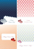 Valentine day card's set. Illustration of Valentine day gift card's set. Four gift cards with hearts and colored gradient backgrounds Stock Photography