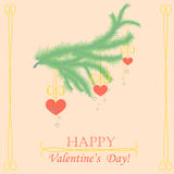 Valentine Day Card. Simple Valentine Day Card with Fir-Tree Branches and Heart Shaped Toys. Vintage Style Colors. Vector EPS 10 Stock Photography