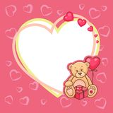 Valentine day card with teddy Stock Photography