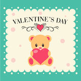 Valentine day card  with Teddy bear. Teddy bear with heart and message for Valentine day Royalty Free Stock Images