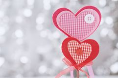 Valentine day card. With red heart on abstract silver bokeh background Royalty Free Stock Images