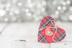 Valentine day card. With red heart on abstract silver bokeh background Royalty Free Stock Photography