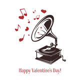 Valentine day card. Vintage gramophone with greeting text. Vector illustration. Royalty Free Stock Photos