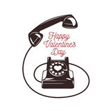 Valentine day card. Vintage phone with greeting Stock Images