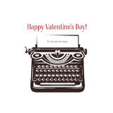 Valentine day card. Vintage typewriter with text Stock Images