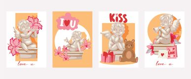 Valentine day cards angel statue vector illustration. Angelic cupid sculptures with flowers, musical instruments, gifts. In cards. Cartoon boys with wings for vector illustration