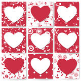 9 Valentine day cards Stock Photo