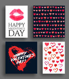 Valentine Day Cards and Painted Hearts Set Royalty Free Stock Images