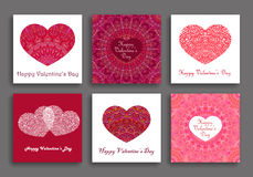 Valentine Day Cards Set Different Hearts royalty free illustration
