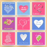 Valentine day cards. Set of 9 Valentine day paper cards with various hearts, ribbons and rose Vector Illustration
