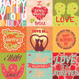 Valentine day cards template vector. Royalty Free Stock Images