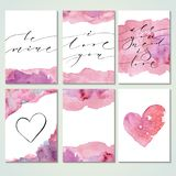 Valentine Day Cards. Valentine day present cards with modern calligraphy and watercolor texture. Brush painted letters, vector illustration. Template for banners Stock Photography