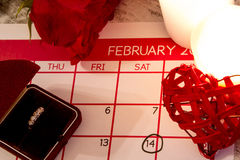 Valentine Day. Celebrating romance with a marriage proposal Stock Photography