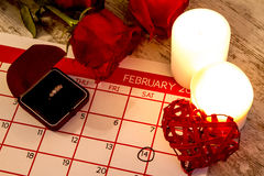 Valentine Day. Celebrating romance with a marriage proposal Stock Photos
