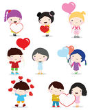 Valentine day children and couple Stock Image