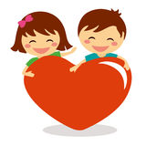 Valentine Day children holding heart Stock Images