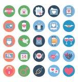 Valentine Day Color Vector Icons ha messo che può essere modificato o pubblicare facilmente royalty illustrazione gratis