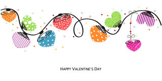 Valentine day colorful hearts vector greeting card Royalty Free Stock Images