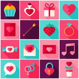 Valentine Day Colorful Icons illustrazione vettoriale