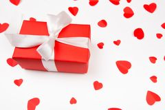 Valentine day composition: .gift boxe with bow and red hearts, photo template, background. Top View royalty free stock photography