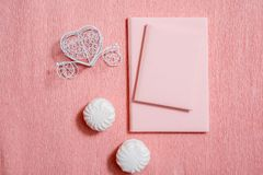 Valentine day composition: white gift boxes with bow and red felt hearts, photo template, background. Top View. View from above. Valentine day composition: white royalty free stock photo