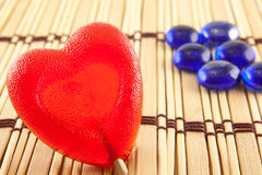 Valentine day concept - heart shaped lolly pop on wood background, copy space Stock Images