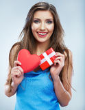 Valentine day concept, woman hold red heart, gift box. Stock Photo