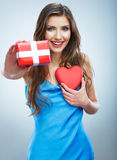Valentine day concept, woman hold red heart, gift box. Royalty Free Stock Photo