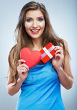 Valentine day concept, woman hold red heart, gift box. Royalty Free Stock Images