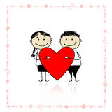 Valentine day. Couple with big red heart Royalty Free Stock Photo