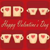 Valentine day couple of cups red background Royalty Free Stock Images