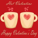 Valentine day couple of cups red background Hot Valentine.  Royalty Free Stock Images