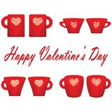 Valentine day couple of cups white background Stock Photo