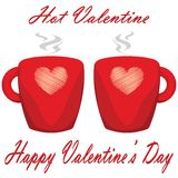 Valentine day couple of cups white background Hot Valentine.  Royalty Free Stock Images