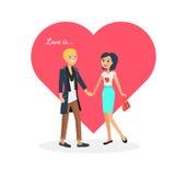 Valentine Day Couple feliz O homem dá a mulher da flor ilustração stock
