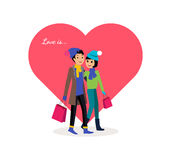 Valentine Day Couple Shopping feliz ilustração royalty free