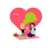 Valentine Day Couple Sitting feliz no parque ilustração stock