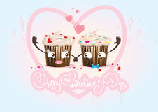 Valentine Day cupcakes inlove, couple Stock Photos