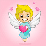 Valentine Day cupid angel cartoon style vector illustration. Amur cupid kid playing. On white background Royalty Free Stock Images