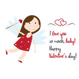 Valentine Day cupid angel cartoon style vector illustration. Amur cupid kid playing. Cupid cartoon kids vector illustration, Cute playfull Valentine  cupid Royalty Free Stock Photo