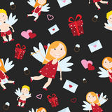 Valentine Day cupid angel cartoon style vector illustration. Amur cupid kid playing. Cupid cartoon kids vector illustration, Cute playfull Valentine  cupid Royalty Free Stock Photography
