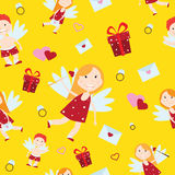 Valentine Day cupid angel cartoon style vector illustration Stock Photos