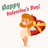Valentine Day cupid angel cartoon style vector Royalty Free Stock Photography