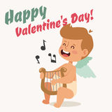 Valentine Day cupid angel cartoon style vector Stock Photos